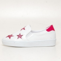 Women's Glitter Pink Star Synthetic Leather Elastic Band Sneakers Shoes