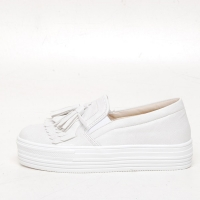 Women's White Thick Platform Tassel Fringe Elastic Band Synthetic Leather Sneakers Shoes