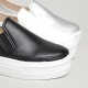 Women's Apron Toe Stitch White Thick Platform  Elastic Band Synthetic Leather Back Tap Sneakers Shoes