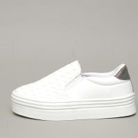 Women's White Thick Platform Elastic Band Mesh Sneakers Shoes