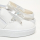 Women's White Platform Elastic Band Glitter Silver Star Spangle Synthetic Leather Sneakers Shoes