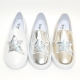 Women's White Platform Elastic Band Glitter Silver Star Spangle Synthetic Leather Gold Sneakers Shoes