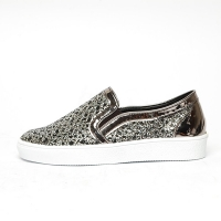 Women's White Platform Elastic Band Glitter Bronze Synthetic Leather Mesh Sneakers Shoes