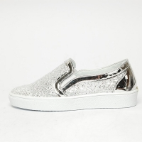 Women's White Platform Elastic Band Glitter Silver Synthetic Leather Mesh Sneakers Shoes