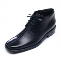 Men's Flat Square Toe Black Leather Lace Up Side Zip Ankle Boots