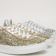 Women's Glitter Gold Silver White Platform Lace Up Sneakers Shoes