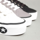 Women's Thick Platform Eyelet Lace Up Fabric Sneakers Shoes