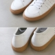 Women's Cow Leather Apron Toe Punching Eyelet Lace Up Sneakers Shoes