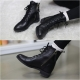 Women's Leather Cap Toe Side Zip Hidden Wedge Insole Increase Height Ankle Boots