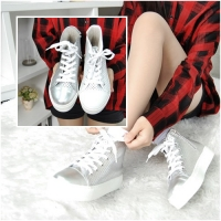 Women's Leather Thick Platform Cap Toe Punching Side Zip High Tops Sneakers