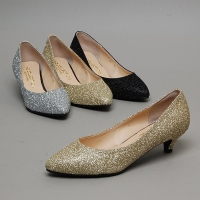 Women's Pointed Toe Glitter Black Silver Gold Med Heel Pumps US5.5~US10