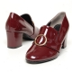 Women's Round Toe Glossy Med Heel Loafers Shoes US5.5~US10