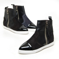 Women's Leather Cap Toe Side Zip Back Tap Increase Height Hidden Insole High Tops Sneakers