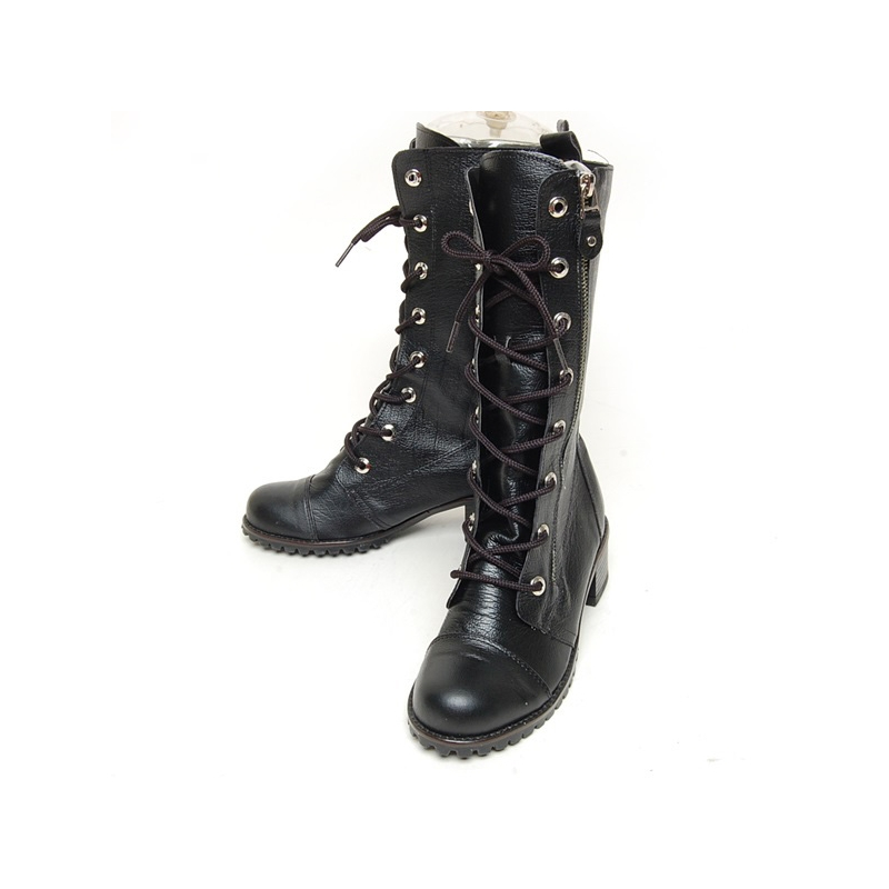 Women s Black Leather Cap Toe Outside Zip Eyelet Lace Up Combat Sole Med  Heel Mid Calf Boots d3f13bbbaf