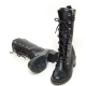 Women's Black Leather Cap Toe Outside Zip Eyelet Lace Up Combat Sole Med Heel Mid Calf Boots