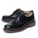 Men's Plain Toe Black Leather Open Lacing Oxford Shoes