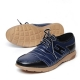 Men's Apron Toe Two Tone Stitch Navy Sheep Skin Lace Up Fashion Sneakers Shoes