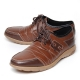 Men's Apron Toe Two Tone Stitch Brown Sheep Skin Lace Up Fashion Sneakers Shoes