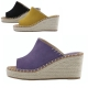 Women's Open Toe Cow Leather Espadrille Thick Platform High Wedge Heel Mules