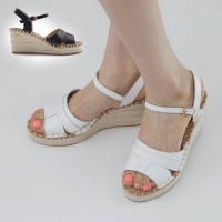 Women's leather thick platform belt strap high wedge heel sandals