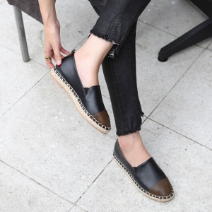 e389c8366d776 http   what-is-fashion.com 5504-43351-. Women s synthetic leather  espadrille side insert gore contrast round toe flats black khaki mustard  white