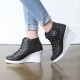 Women's cap toe cubic detail star side zip lace up high wedges heels sneakers w5508