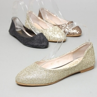 Women's glitter gold bronze black flat shoes Size US5 ~ US10 W5510