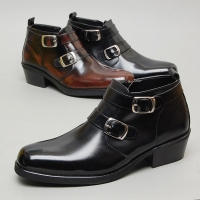 Men's square toe double belt strap back tap side zip high heel ankle boots M5511