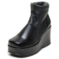Women's soft black leather thick high platform wedge heels side zip booties