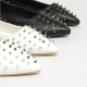 Women's synthetic lether pointed toe rock chick corn spike studded flat loafers white