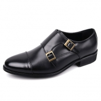 Men's cap toe black leather double buckle monk strap shoes