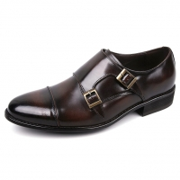 Men's cap toe brown leather double buckle strap monk shoes