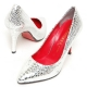 Women's Glitter Gold Silver Animal Pattern Pointed Toe Leather High Heels Pumps