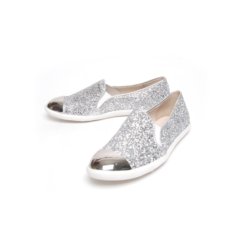 2fd28aa09641c Women s glitter pure silver glossy metallic round toe low heel loafers