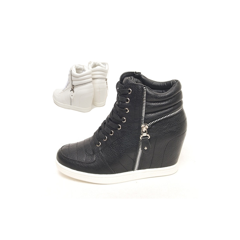 womens black white lace up zip decoration high top hidden