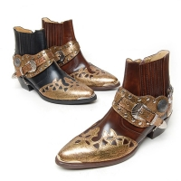 "HAND-MADE Men's Leather contrast patch studded side zip snake pattern western ankle bike rider boots 2.17"" heels"