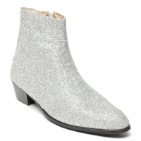 Men's glitter silver western zipper Ankle mid-calf boots made in KOREA US 6 - US 10.5