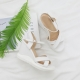 Women's synthetic leather thick platform wedge high heels ankle strap sandals white