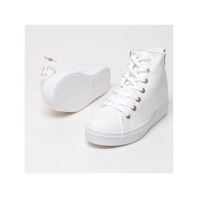 a494ec01d840 ... Women s Eyelet Lace Up Hidden Wedge Insole Sneakers High Top Zipper  Shoes ...