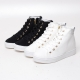Women's Eyelet Lace Up Hidden Wedge Insole Sneakers High Top Zipper Shoes