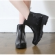 Women's festival fashion glossy black synthetic PVC rain ankle boots