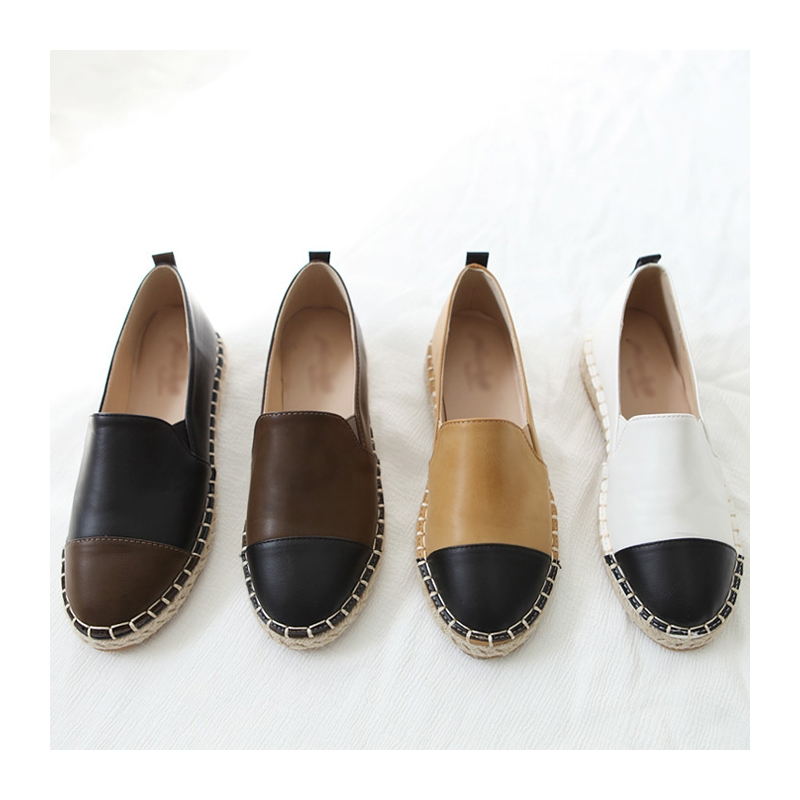 23f5436f9e5a7 Women s synthetic leather espadrille side insert gore contrast round toe  flats black khaki mustard white