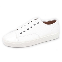 Men's glossy round toe cap lace ups sneakers white