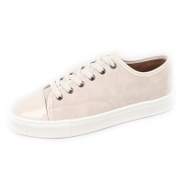 Men's glossy round toe cap lace ups sneakers beige
