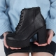 Women's synthetic leather round apron toe combat thick sole ankle boots