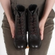 Women's brown real leather round cap toe combat sole buckle ankle boots
