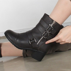 26fb9f5414fa http   what-is-fashion.com 5590-43507-. Previous. Women s rock chic round  toe med chunky heels buckle long ankle boots ...