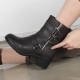 Women's rock chic round toe med chunky heels buckle long ankle boots brown