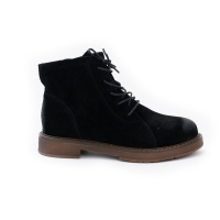 women's chic black synthetic leather round toe lace ups ankle boots