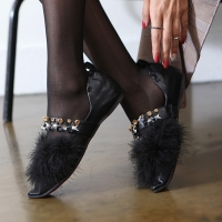 Women's black pointed toe fur trimming flat Loafer Shoes